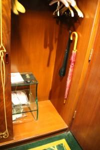 Hotel Lisboa Macau closet slippers sewing kit umbrella and shoe shine