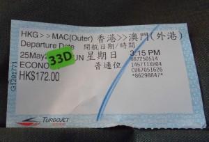 Ticket for Macau Ferry China