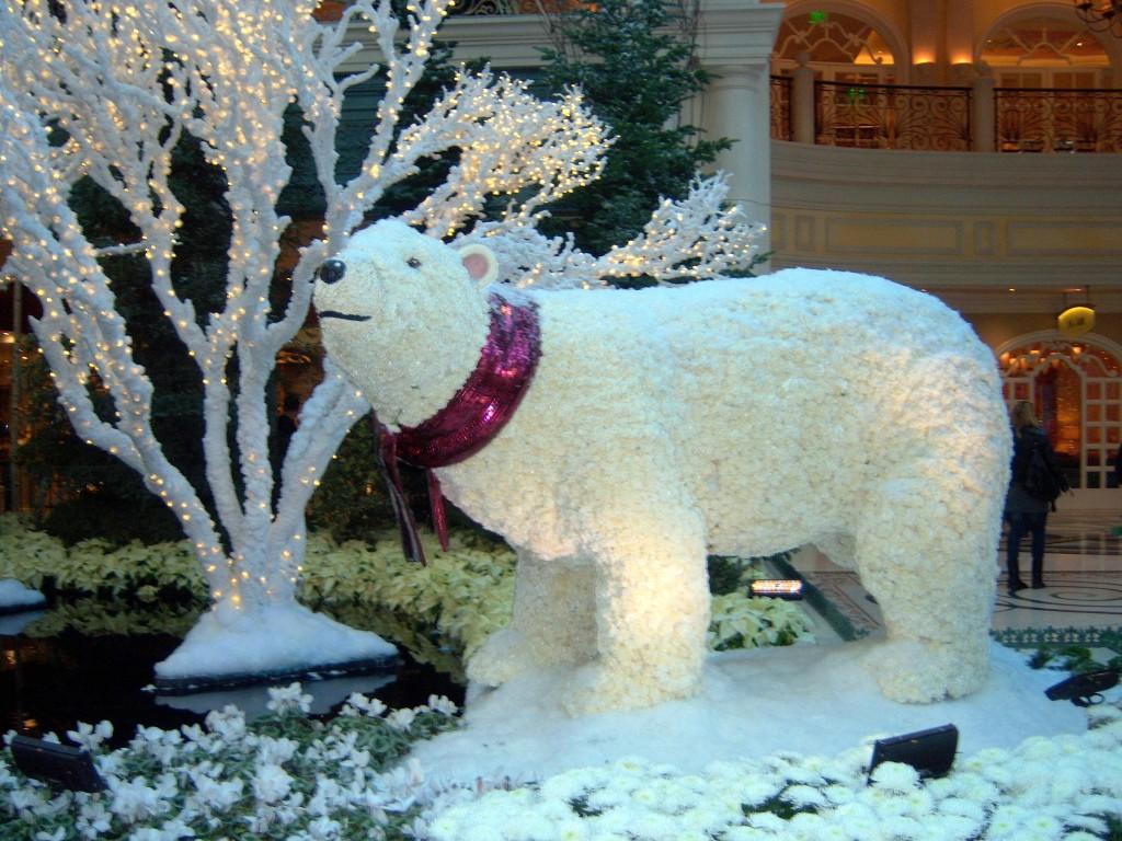 Bellagio Conservatory Mama polar bear Christmas Las Vegas Nevada