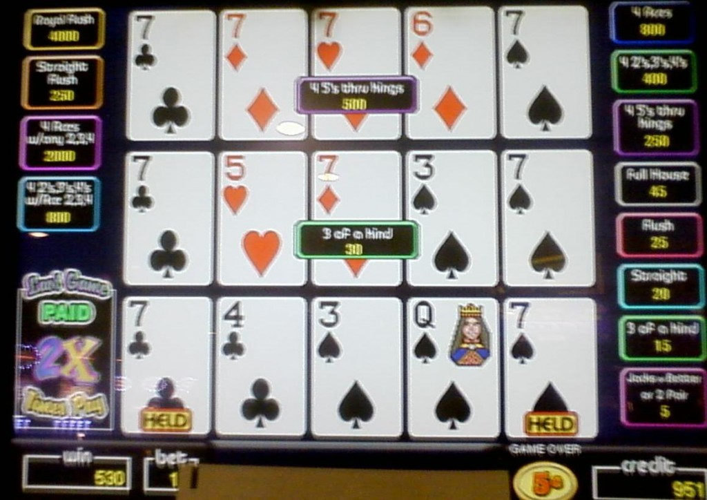 Video poker 2x pay
