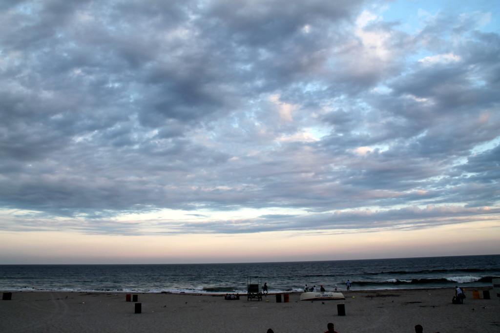 Atlantic City beach at sunset